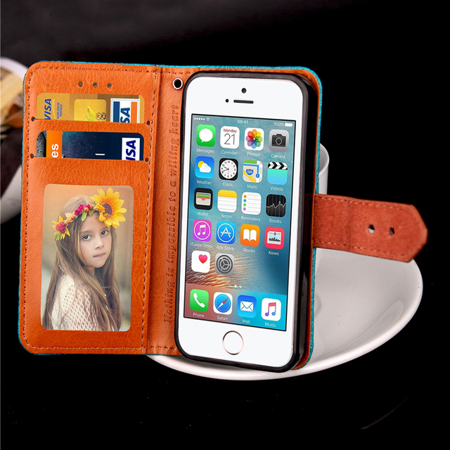 For Apple iPhone 5S SE 5 S E Luxury Print Leather + Silicone Wrist Strap Wallet Card Flip Case For iPhone5s Folding Cover Case