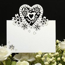METABLE 50pcs Wedding Card Cut Love Heart Laser Party Table Name Place Cards Decor