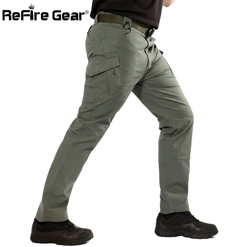 ReFire Gear New IX9 City Tactical Military Pants Men SWAT Army Forces Cargo Pants Casual Elastic Many EDC Pockets Cotton Trouser