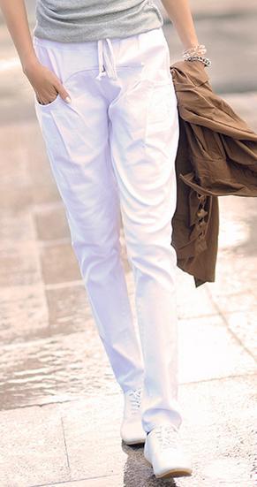 Новинка; Хлопковые Штаны-шаровары с эластичной резинкой на талии; джинсы; повседневные брюки; женские узкие брюки ярких цветов - Цвет: Белый