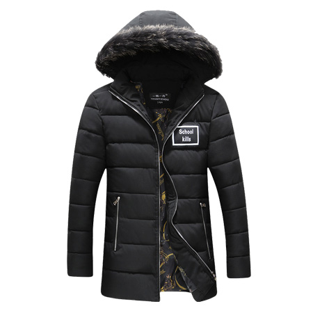 Подробнее о Men Zipper Cotton Long Down Parka Detachable Hat Thick Warm Casual Coats With Hooded Windproof Winter Plus Size M-5XL Black K144 men winter jacket new men warm parka thick long casual jackets men down outwear comfortable cotton hooded parka plus size m 4xl