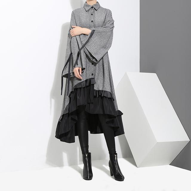 2017 Winter Women Plus Size Gray Shirt Dress Long Sleeve Patchwork Bottom With Sloping Ruffle Cute Wear Party Dress Vestido 3073