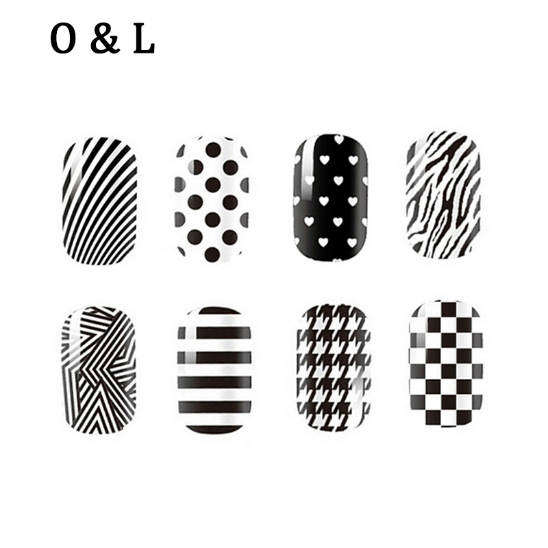 1pcs Fashion White Black font b Nail b font Art Stickers Full Cover Adhesive font b