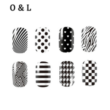 1pcs Fashion White Black Nail Art Stickers Full Cover Adhesive Nail Tips Decoration Manicure Tools