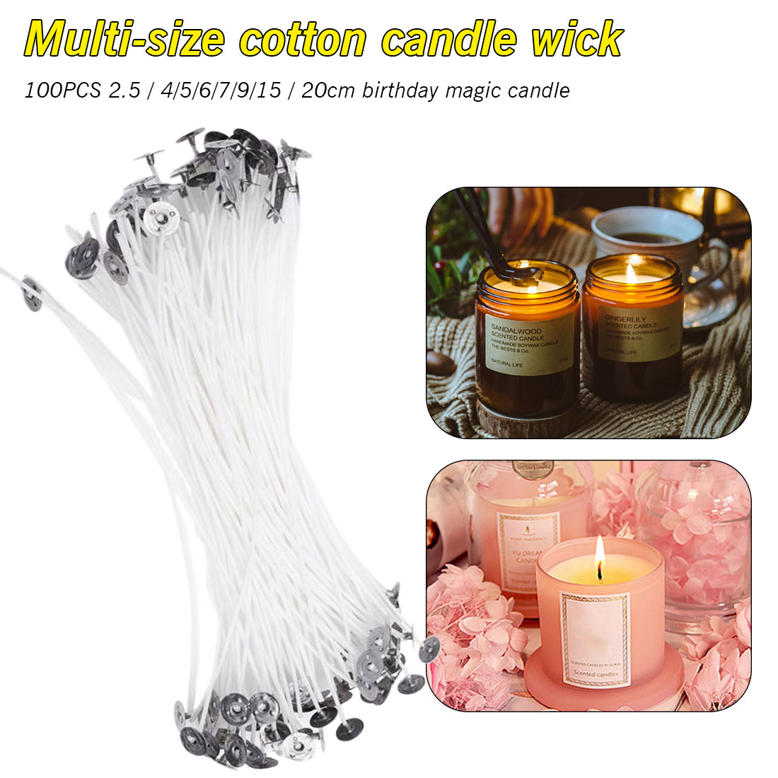 20cm Low Smoke Soy palm Wax Natural Votive Container Pillar Candle Wick 100p