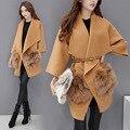 El 2016 de las mujeres nueva versión Coreana del temperamento largo femenino abrigo de lana suelta de Piel de Zorro abrigo de lana de Invierno bolsillo