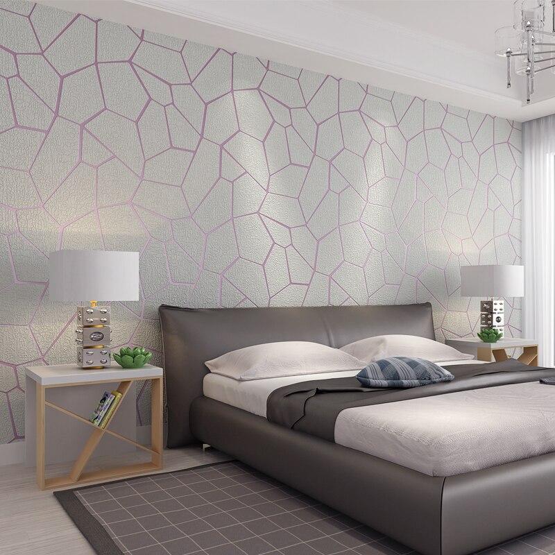 PAYSOTA 3D moderne Simple graphique géométrique Non-tissé papier peint tissu Deerskin velours chambre TV papier peint rouleau
