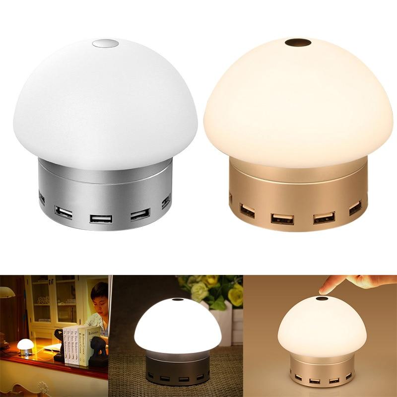 Home LED Desk Lamp Lights Touch Sensitive Control 6 USB Charging ...