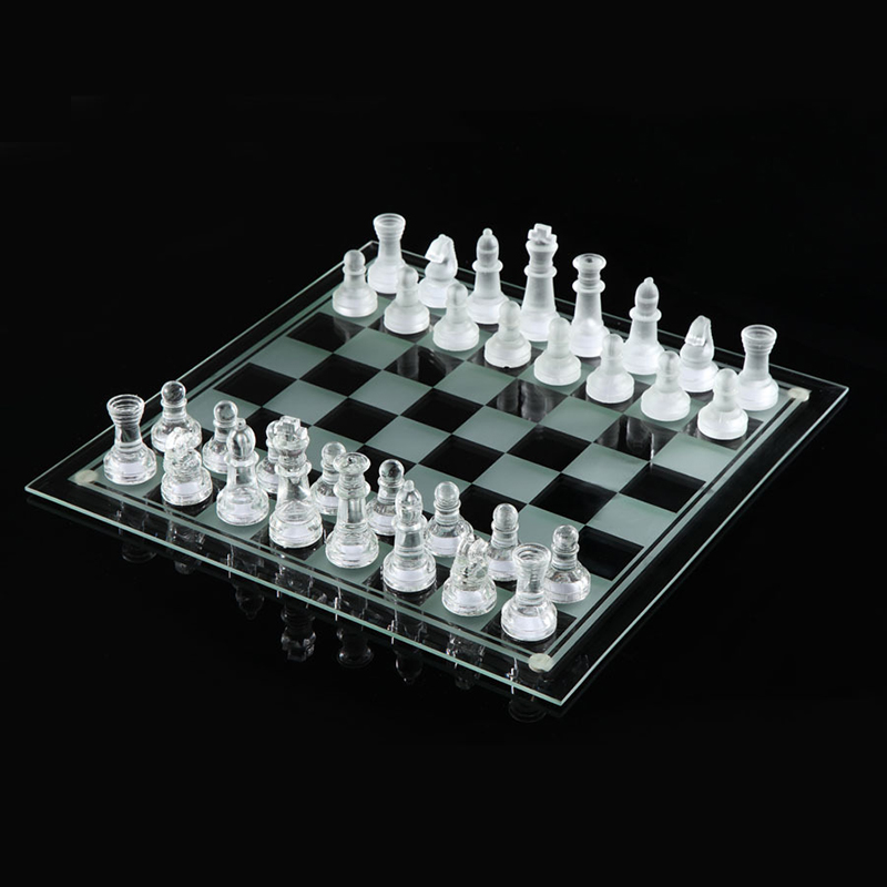 25*25cm K9 Glass chess medium  wrestling Packaging International Chess Game International Chess Set
