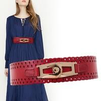 New Cummerbunds belt Women's layer leather belt lady's wide hollowed out leather waist long elastic