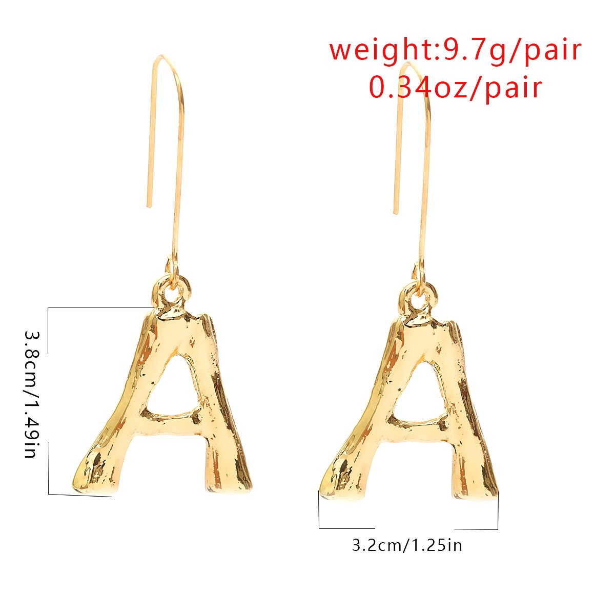 ZIIME 2019 New Punk Gold Silver Color Big Alphabet Initial Letter Earrings for Women Exaggerated Minimalist Metal Drop Earrings in Drop Earrings from Jewelry Accessories
