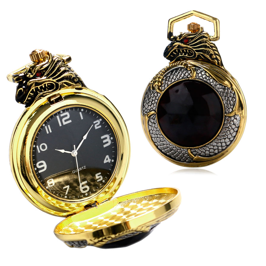 Mens pocket watches with chain images mens gold pocket watches gifts - Luxury Golden Silver Chinese Dragon Design Pocket Watch With Dark Red Zircon Short Golden Chain