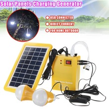 Kinco 2 x 1W Bulb + Solar Panel Portable Home Outdoor DC 9V 3W Solar Panels Battey Charging Generator Power Generation Energy