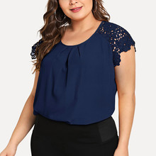 Plus Size Summer Fashion Floral Lace Blouse Casual Ladies Solid Tee Tops