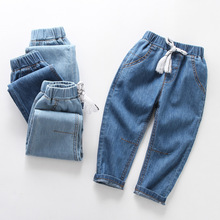 New Summer Casual Children Denim Pants Boys Solid Color Girls Mid Jeans Kids Joggers Teenager Trousers Unisex Clothing