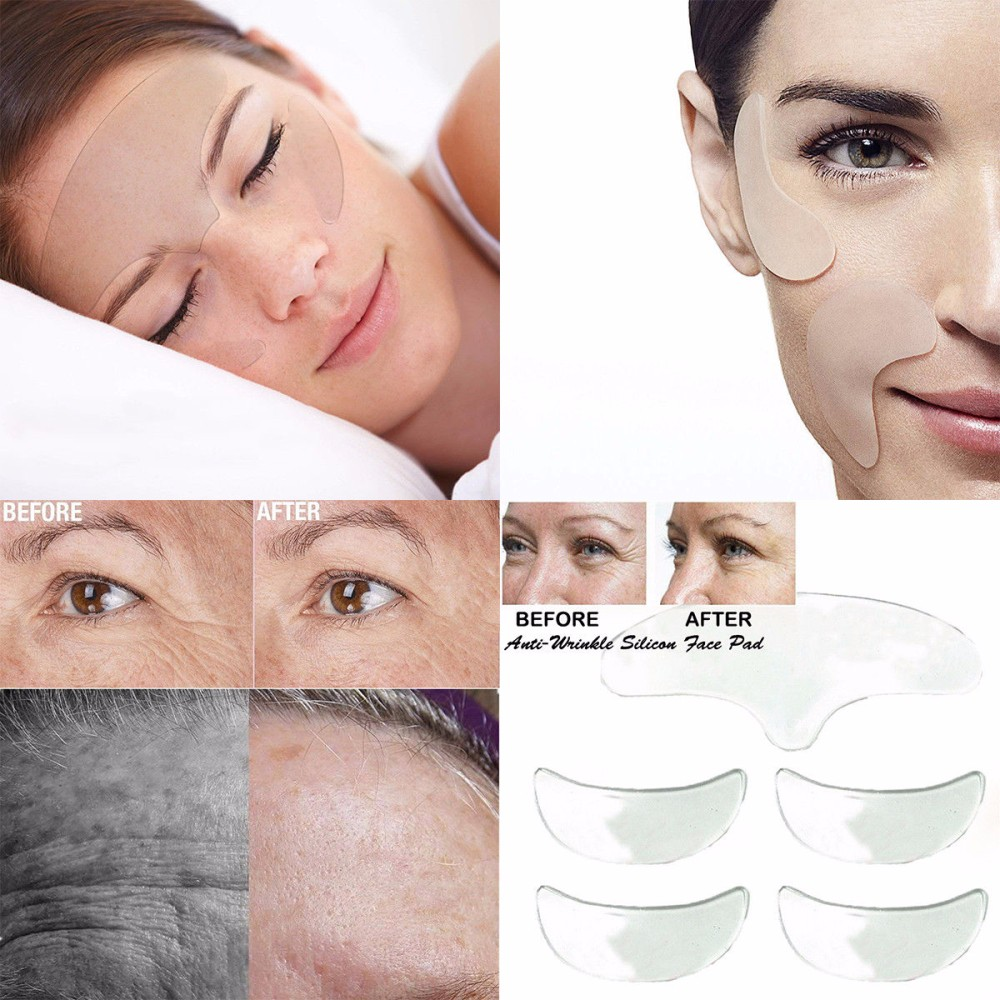 5PC 100% Medical Grade Silicone Anti Wrinkle Eye Chin Skin Care Pad Reusable Face Lifting Silicone Overnight Invisible Pads