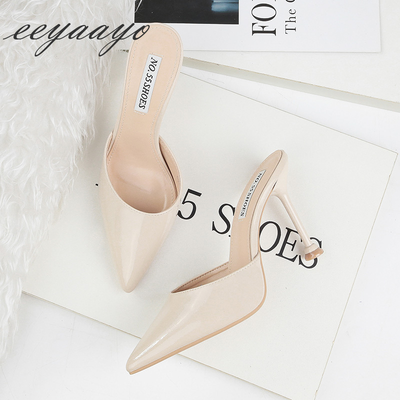 2019 New Summer Women Mules Slippers High Thin Heel Pointed Toe Sexy Ladies Women Shoes Apricot Female High Heels Outside Slides in Slippers from Shoes