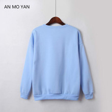 New Product Autumn Winter Fleece Women Blue Sweatshirt Solid