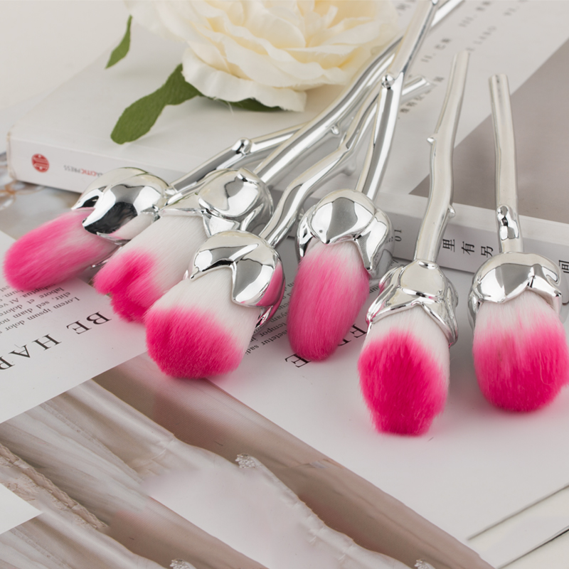 6Pcs Set Sliver Rose Flower Shape Makeup Brushes Set Soft Pink Hair Face Powder Foundation Blush Blending Makeup Tools Cosmetic in Eye Shadow Applicator from Beauty Health