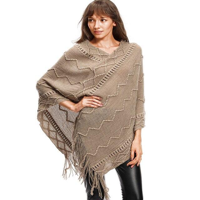 c6f59a57dc55 Womens Oversized Batwing Sleeve Knitted Sweater Loose Tassel Outwear ...
