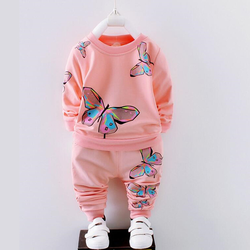 BibiCola Spring Autumn Newborn Baby Girl Clothing Set Kids Tracksuit Printed T-shirt+Casual Pants 2PCS Children Clothes Suit fashion baby girl t shirt set cotton heart print shirt hole denim cropped trousers casual polka dot children clothing set
