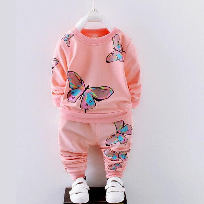 BibiCola Spring Autumn Newborn Baby Girl Clothing Set Kids Tracksuit Printed T-shirt+Casual Pants 2PCS Children Clothes Suit