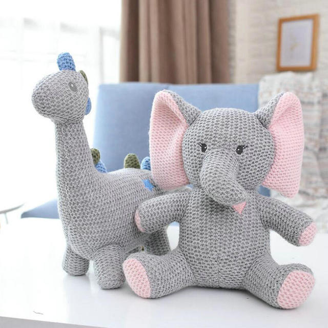 Nordic style Ins hot Knitted Unicorns elephant Bunny Dinosaur Stuffed Toy Toy Safety Bite Baby toys infant Sleeping Appease Doll