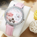 Miss Keke Kids Girls 3D Clay Cartoon-Watch Diamond Quartz Waterproof Bracelet Watch Pink Leather Dress Designer Wristwatch 905