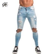 ed8047f7dec Gingtto для мужчин узкие джинсы супер спрей на легкий хлопок лодыжки Tight  Fit рваные отремонтированы Цвет  черный