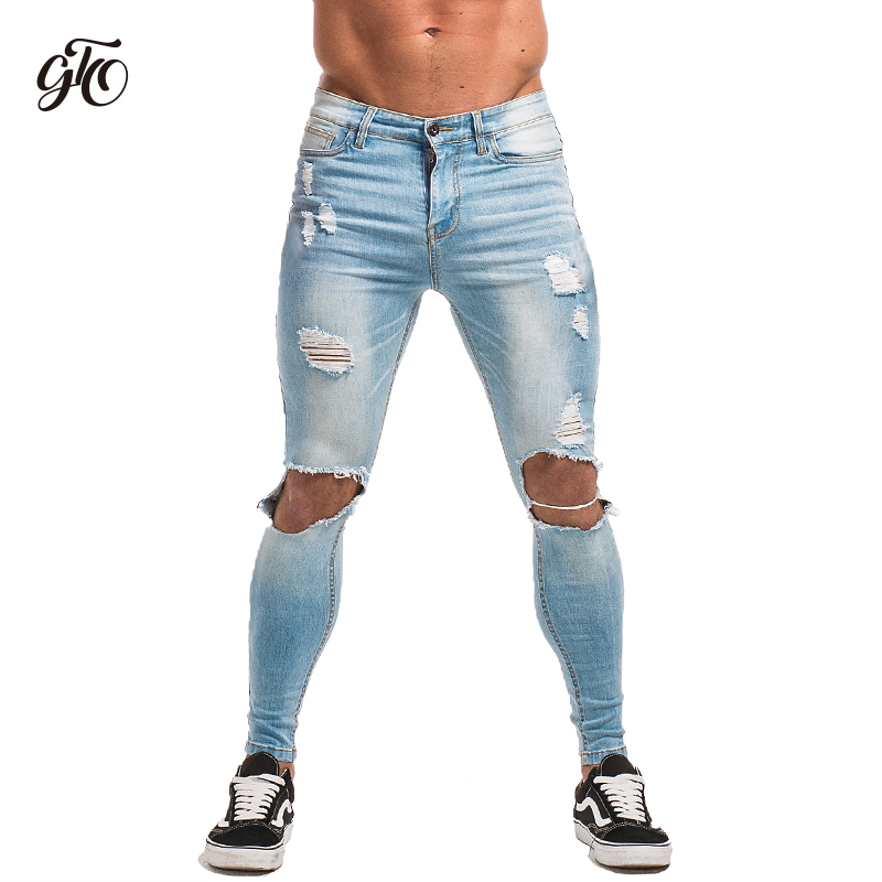 Gingtto Men's Skinny   Jeans   Super Spray on Lightweight Cotton Ankle Tight Fit Ripped Repaired Black Blue Grey Plus Size zm15