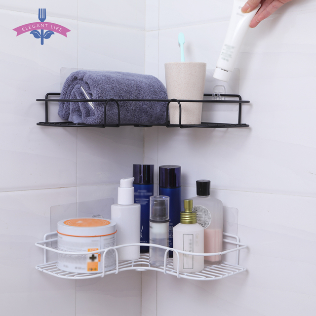 Bathroom Shelf Metal Shelf Storage Rack Stainless Steel Punch-Free Firm Shower Kitchen Fitted Wall Storage Organizer Rack 1