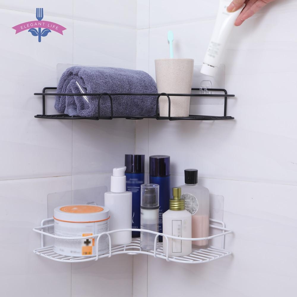 Bathroom Shelf Metal Shelf Storage Rack Stainless Steel Punch-Free Firm Shower Kitchen Fitted Wall Storage Organizer Rack