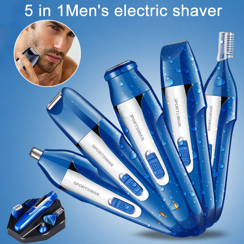 Fashion Nose Ear Hair Trimmer 5 in 1 Beard Trimmer Shaver Electric Razor Waterproof Eyebrow Grooming Kit HY99 JU26 eyebrow grooming kit