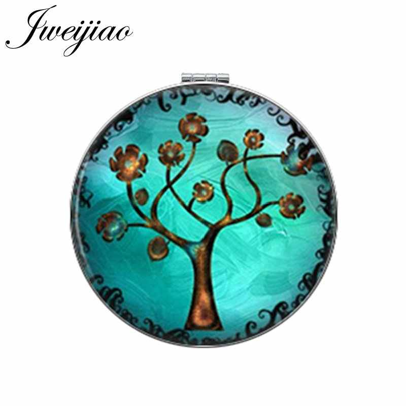 JWEIJIAO Gree Life Tree Golden Leaf Round Makeup Mirror Mini Folding Compact Pocket Mirror Portable 1X/2X Magnifying