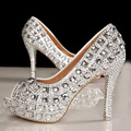 Free Shipping Peep Toe Crystal High Heel Wedding Shoes Silver Bridal Dress Shoes Woman Nightclub Party Banquet Dress Shoes