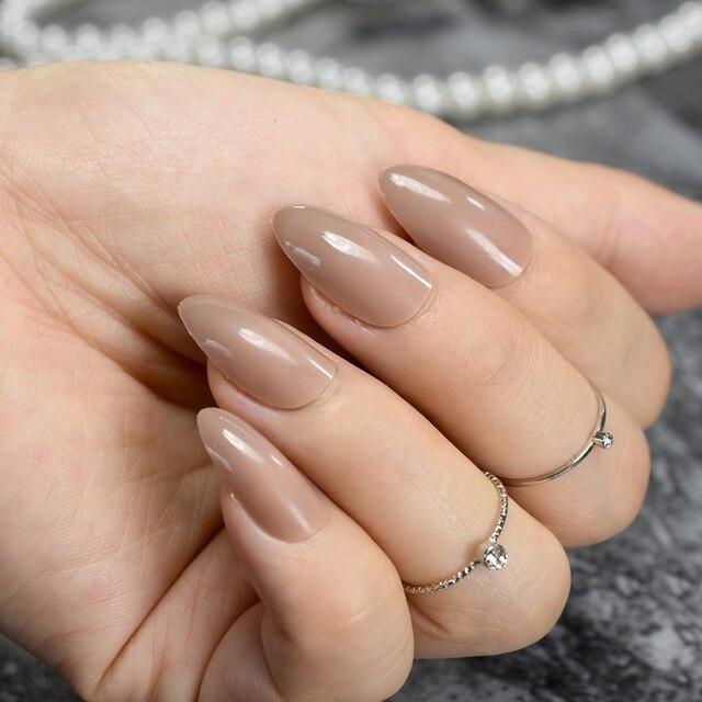 Pure Brown Candy Nail Art Tips Medium Almond Design Kit Stiletto ...