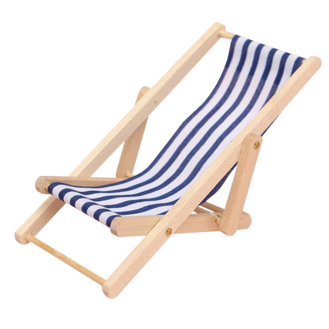 Cute Mini Foldable Wooden Deck Beach Chair Couch Recliner For Dolls House Lounge 1 12