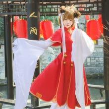 New Anime Cardcaptor Sakura Kinomoto Cosplay Costume Chinese Style Red Fancy Dress Halloween Adult Costumes for Women S-L