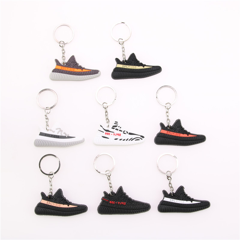 Mini Silicone BOOST 350 V2 Shoes Keychain Bag Charm Woman Men Kids Key Ring Key Holder Gift SPLY-350 Chic Sneaker Keychain