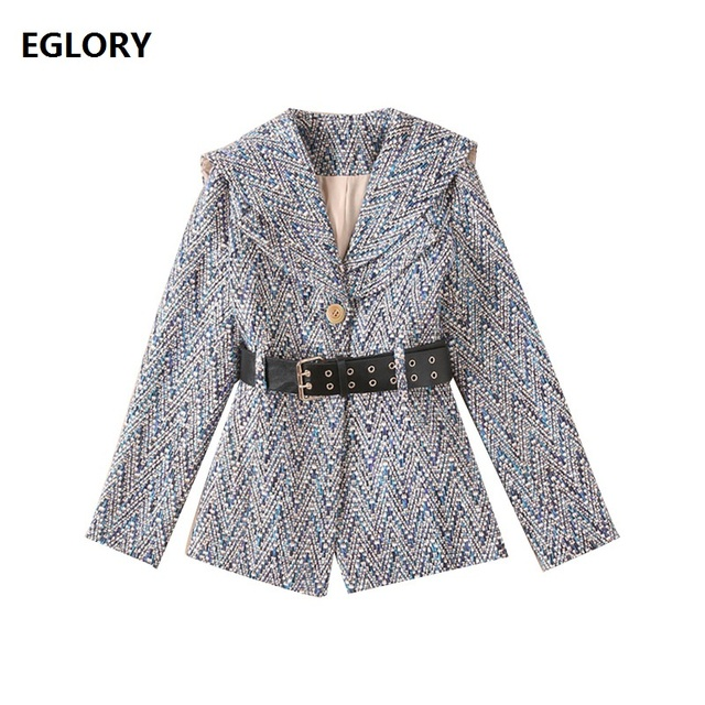 2018 Autumn Winter Wool Coat Jacket Women Vintage Geometric Patterns