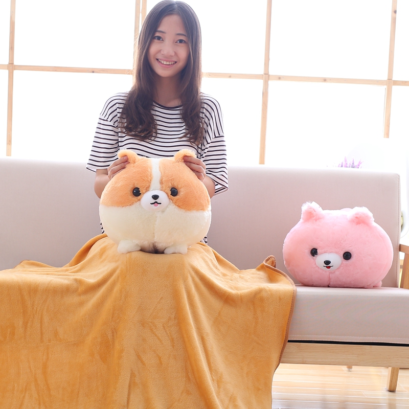 Cute Pomeranian Dog Plush Toy Stuffed Animal Pillow with Blanket Soft Cushion Home Office Car Nap Pillow Good Gift for Girls