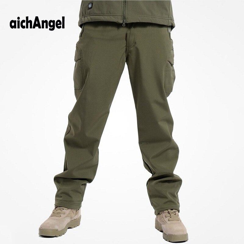 Тактическая Акула кожа Водонепроницаемая флисовая военная одежда военные дышащие камуфляжные брюки
