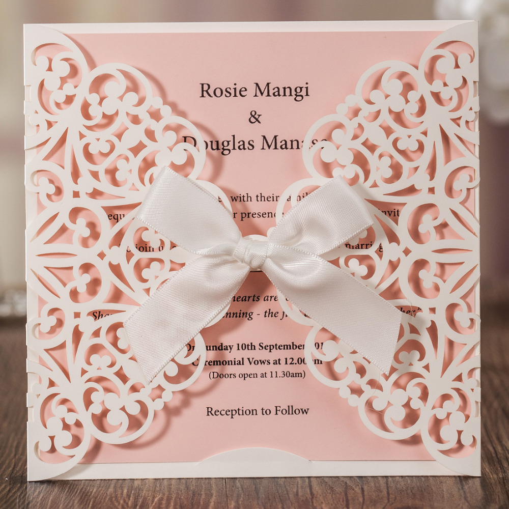 100pcslot Ivory And Pink Laser Cut Lace Wedding Invitations With
