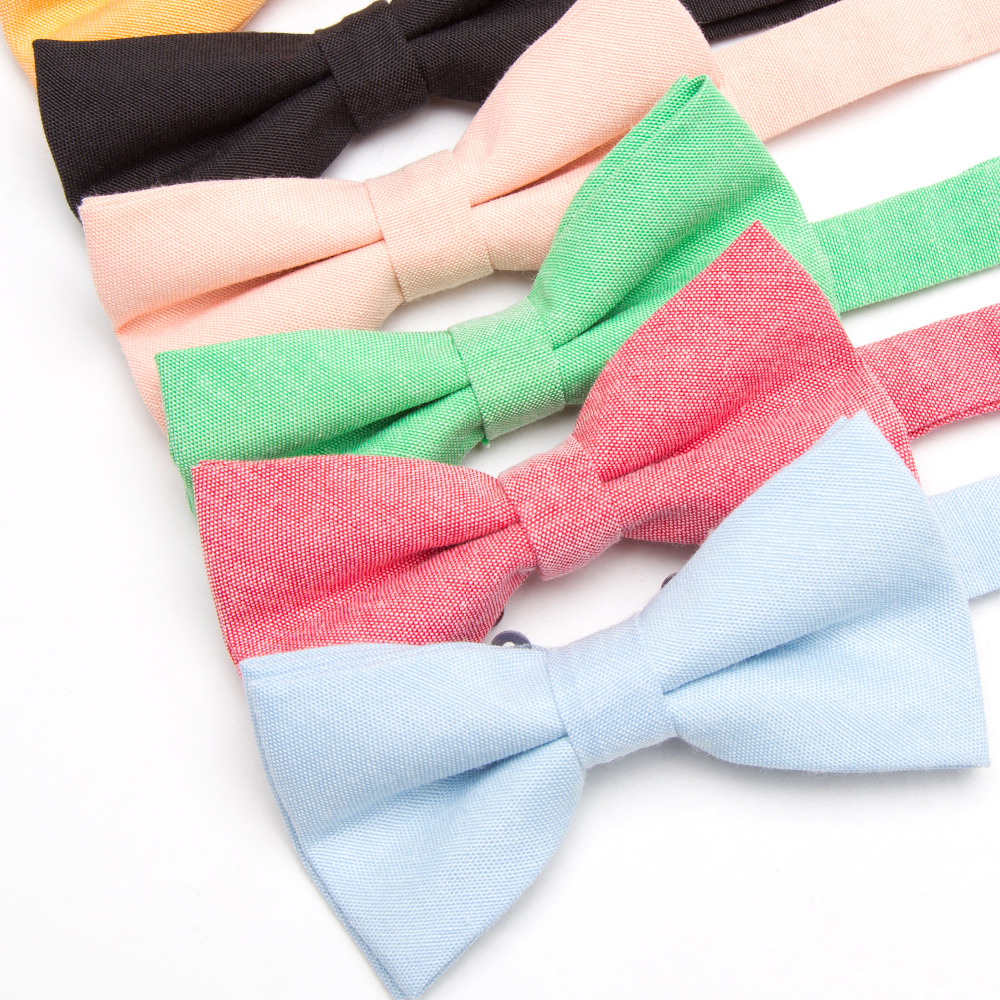 Bowtie 100% Cotton Plain Dyed Solid Bow Tie  Party Accessories Gift Men Adjustable Formal Wedding Butterfly Necktie