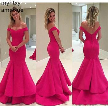 Simple Sexy 2019 Off the Shoulder Evening Dresses Pink Gown Sleeveless Mermiad Tiered Skirt Court Train Ruched Robe De Soiree