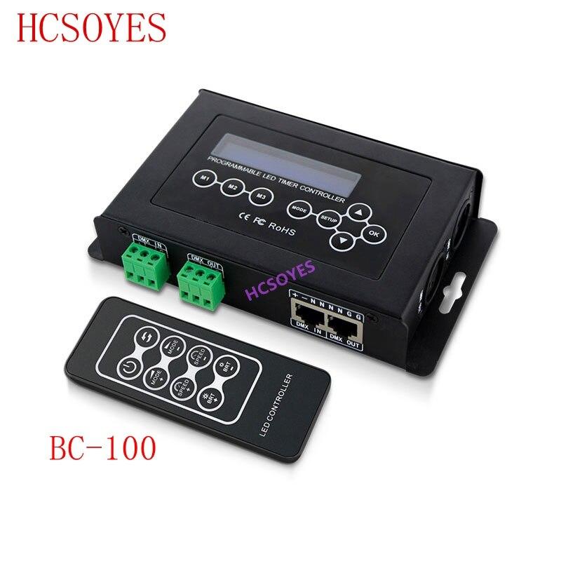 BC-100 DC9V led contrôleur RGB DMX512 signal 170 Pixels contrôleur de lumière led affichage LCD et télécommande sans fil RF pour module de bande led