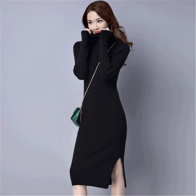 2017New Women Slim Turtleneck Sweater Package Hip Long Sweater Dress Long Sleeve Knitted Dress Autumn & Winter Long Vestidos C19 women turtleneck front pocket sweater dress