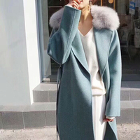 2018 New Elegant Women Big Fox Fur Collar 100% Real Wool Clothing Women Winter Autumn Blue Wool Good Quality Woolen Blend Coat