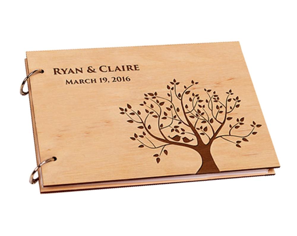 Personalized anniversary gift wedding guest album wooden for Design geschenke