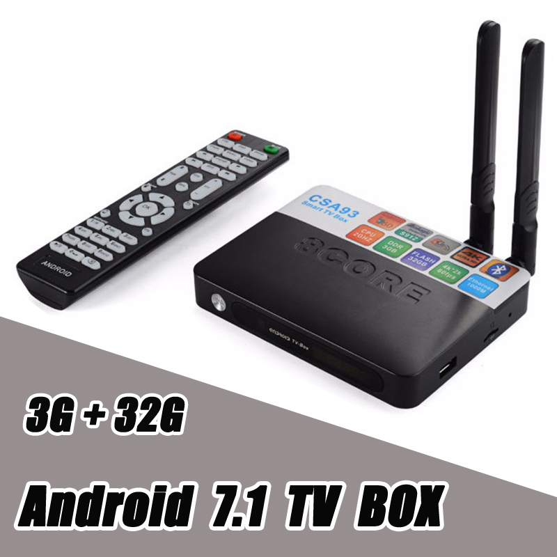 3GB RAM 32GB ROM Android 7.1 TV Box CSA93 Amlogic S912 Octa Core 2GB 16GB Wifi BT4.0 4K 1000M LAN Streaming Smart Media Player new x98 pro android 6 0 tv box 3gb ram 16 rom amlogic s912 octa core smart tv box 2 4g 5 8g dual wifi bt4 0 uhd 4k media player